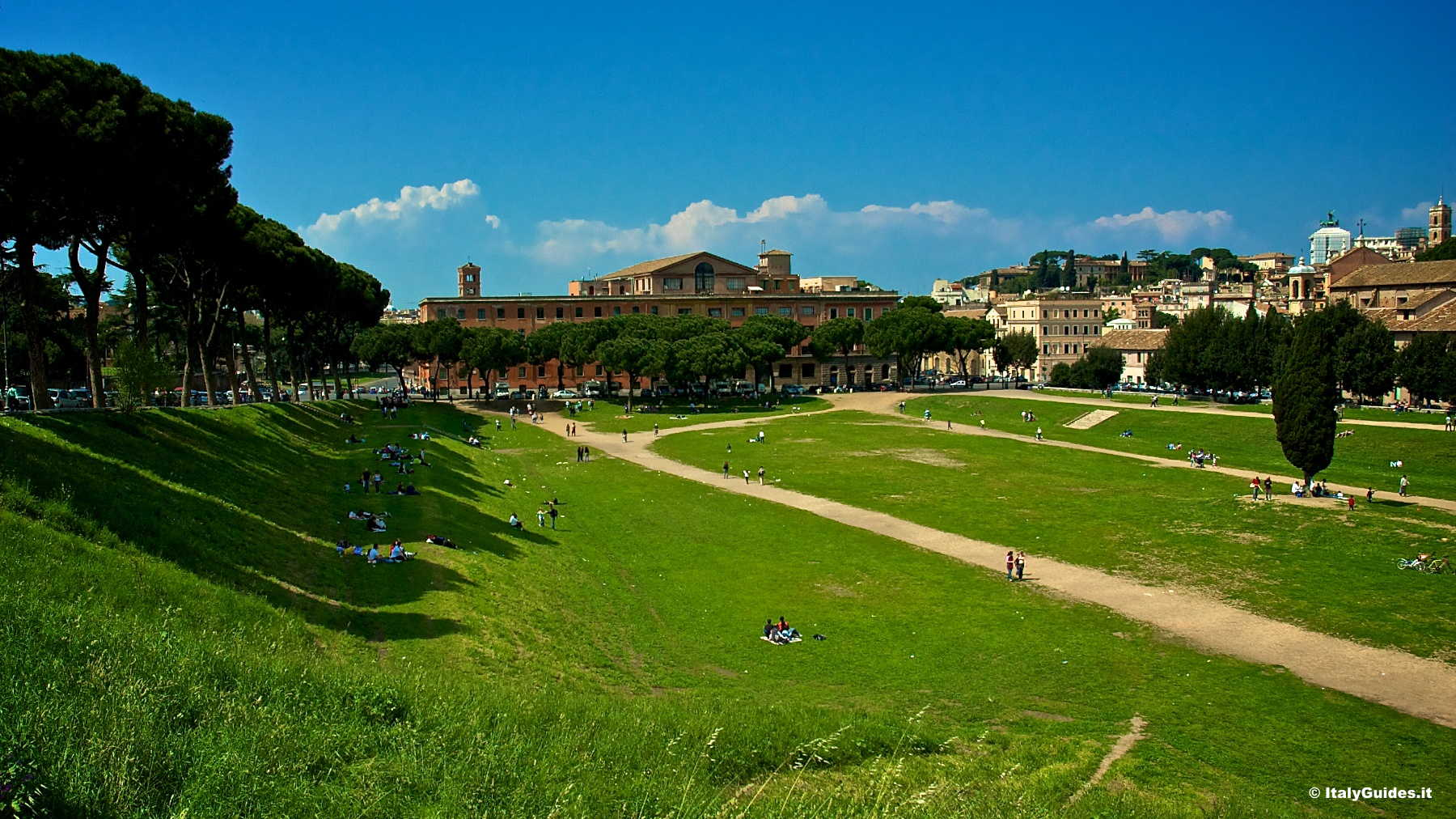 circus maximus The circus maximus (italian: circo massimo) was the first and largest chariot-racing course to be built in rome the roman general, politician and future imperator, gaius julius caesar, ordered its construction after a dream he experienced, wherein a huge racing arena that could host an entire.