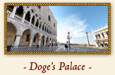 Doge's Palace, Venice Italy - If you imagine landing in Venice from the sea, as did those who came inland by ship, the first thing you see rising out of the water is the unmistakable shape of the Doge's Palace - the city's most famous building.