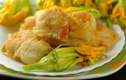 Filled zucchini flowers