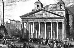 The Pantheon in Rome, drawing by Leitch, engraving by W.B. Cooke, 1835
