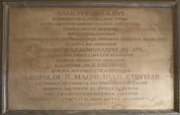 Plaque in memory of Galileo Galilei's experiments