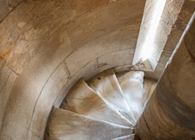 Spiral steps inside the tower